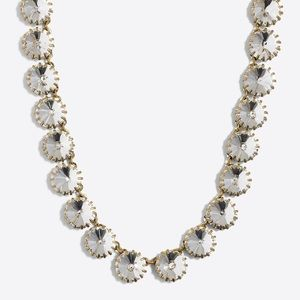 Jewelry - Statement Necklace - Gold w Large Rhinestones